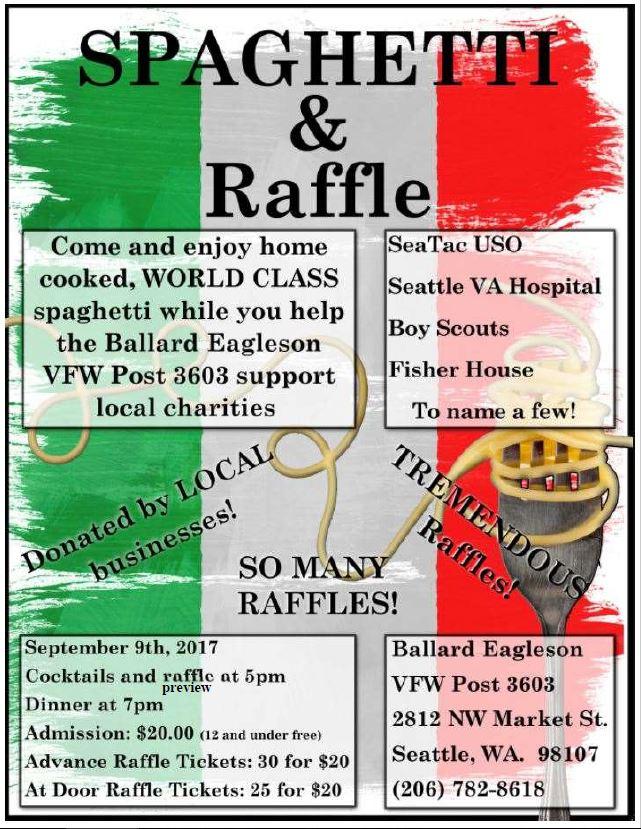 save the date spaghetti and raffle fundraiser ballard eagleson
